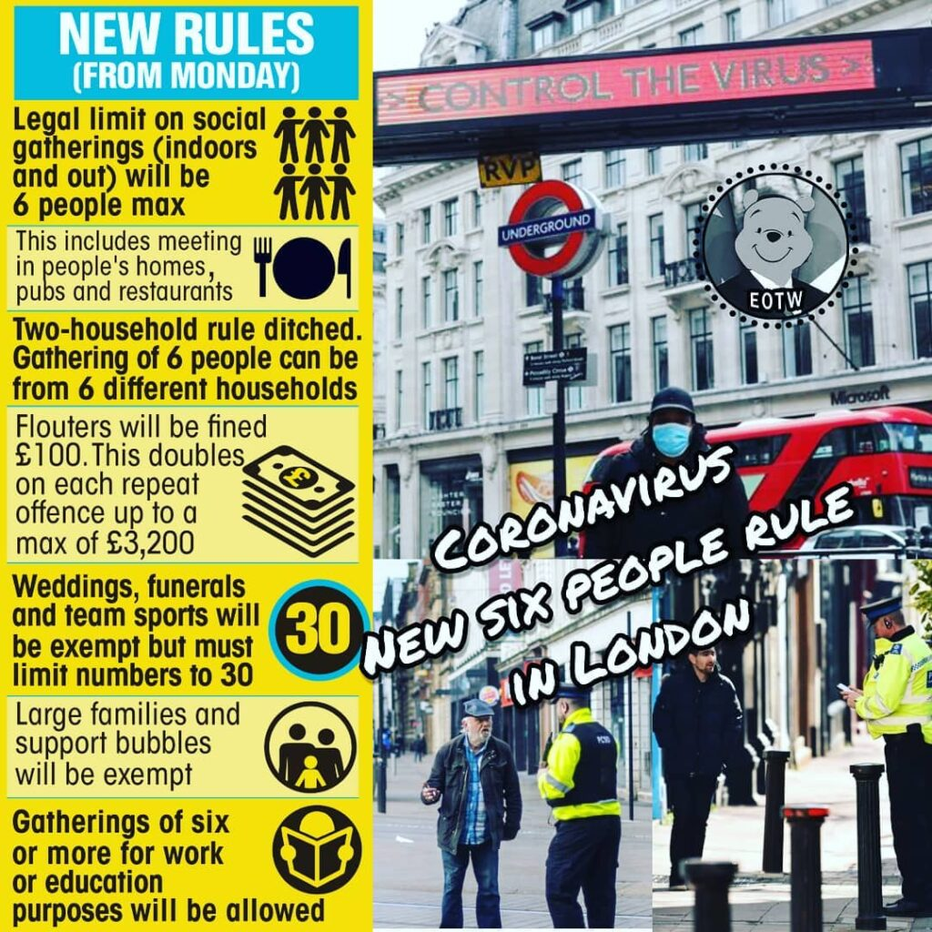 The new coronavirus rules in England banning social gatherings of more than six ...