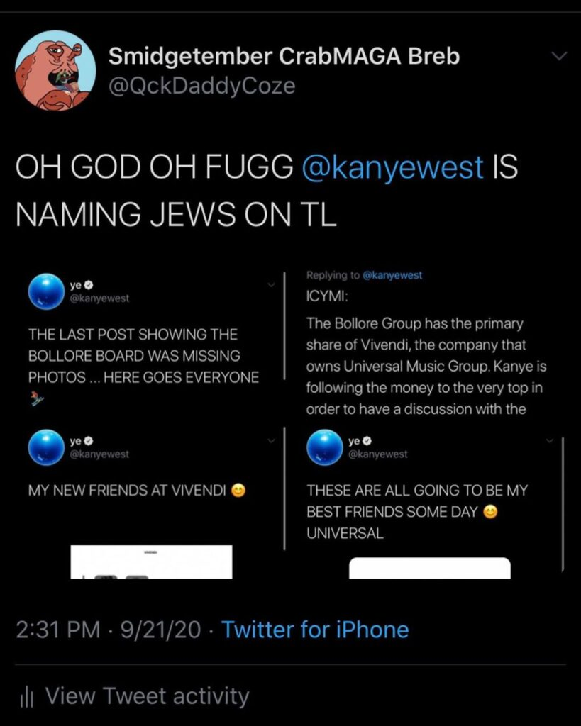 OH GOD OH FUGG KANYE NAMING JEWS ON TL *sip  you love to see it. ...