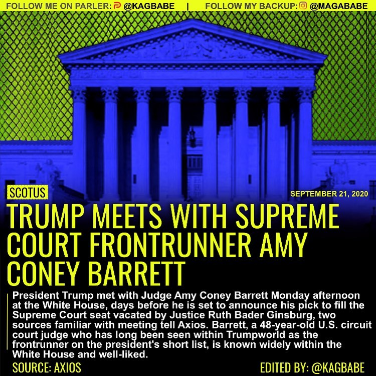 President Trump met with Judge Amy Coney Barrett Monday afternoon at the White H...