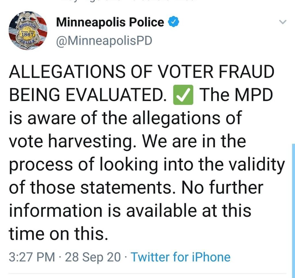 ALLEGATIONS OF VOTER FRAUD BEING EVALUATED.  The MPD is aware of the allegations...