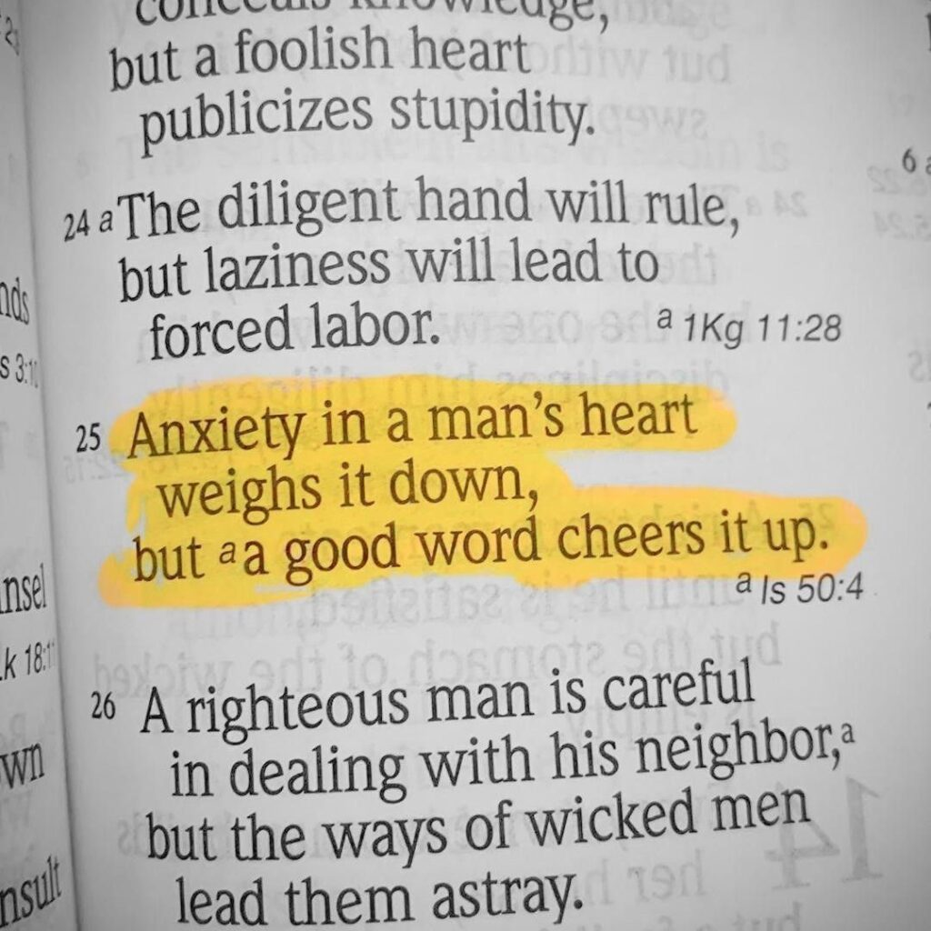 Follow  Anxiety weighs down the heart, but a kind word cheers it up. -Proverbs 1...