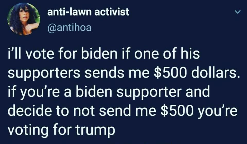 Pay up or you love Trump....