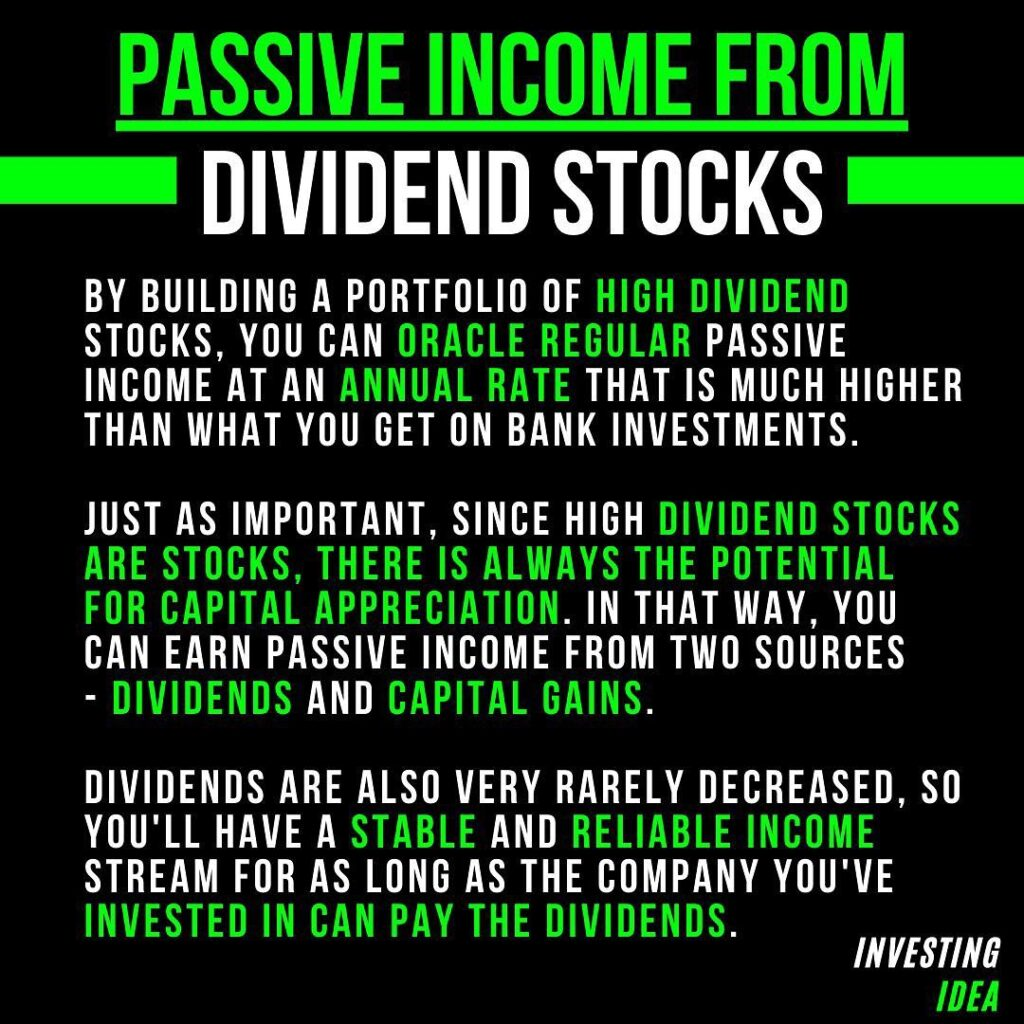 Don't rely on only Dividends as you sole income and also ALWAYS remember to hav...