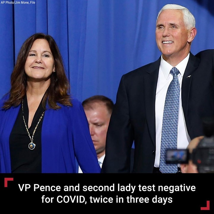 Vice President Mike Pence and his wife, Karen, have against tested negative agai...