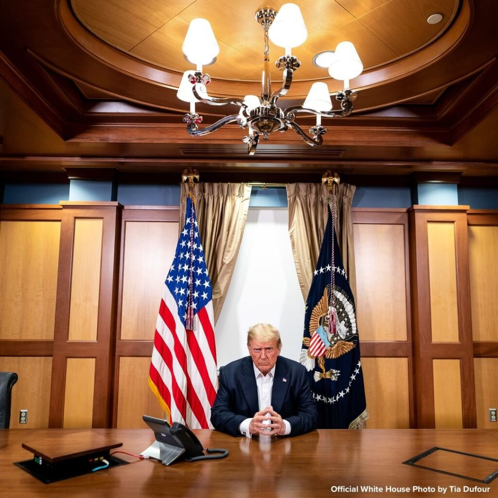 Official White House photographs show Pres. Trump participating in a phone call ...