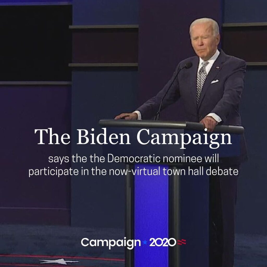 The Biden campaign said the Democratic nominee for president will participate in...