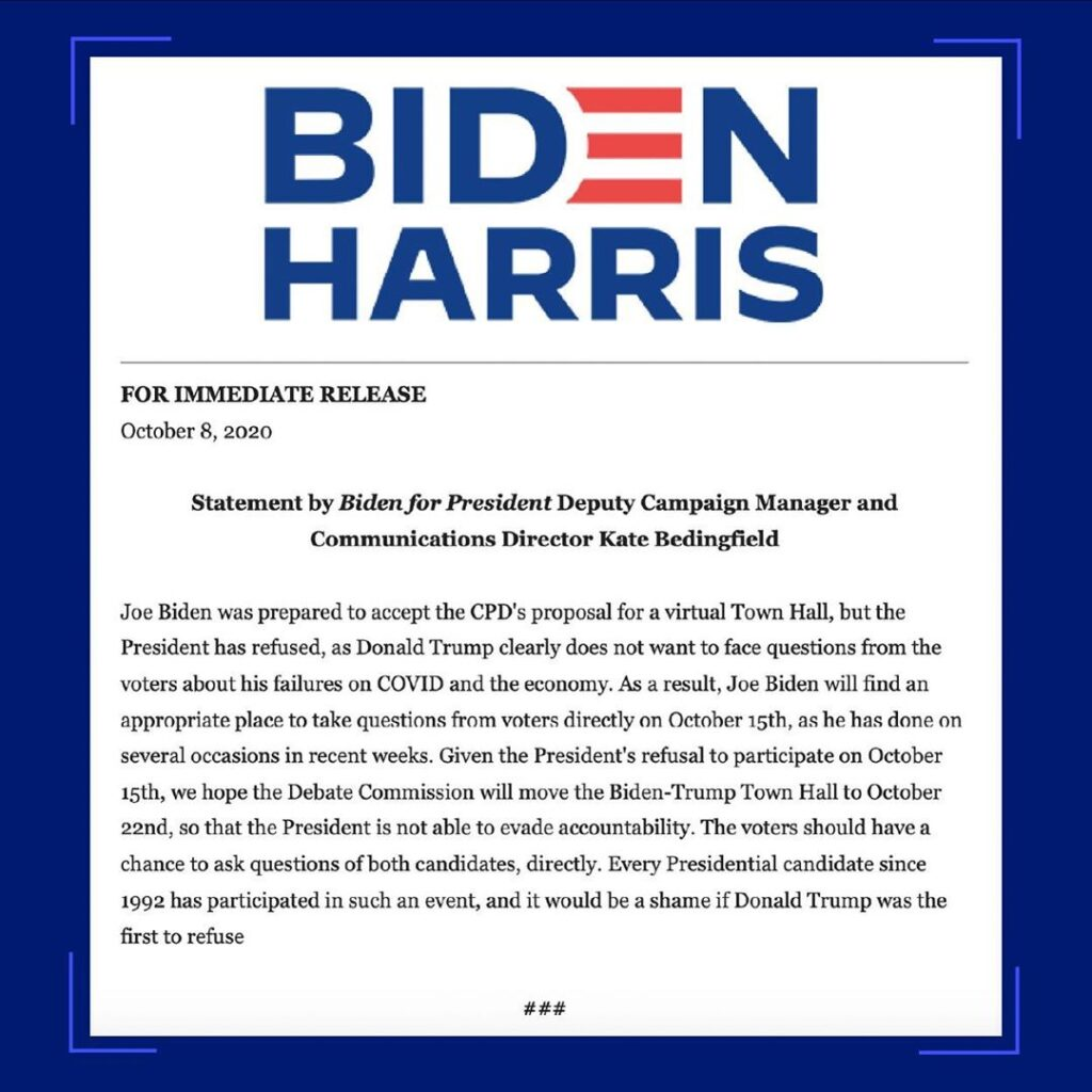 The Biden-Harris campaign released an update saying Joe Biden will take question...