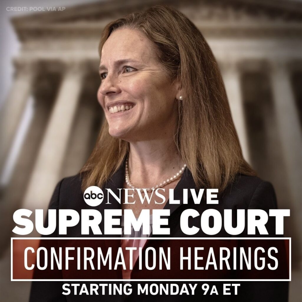 STARTING MONDAY: Senate confirmation hearings begin for Judge Amy Coney Barrett,...