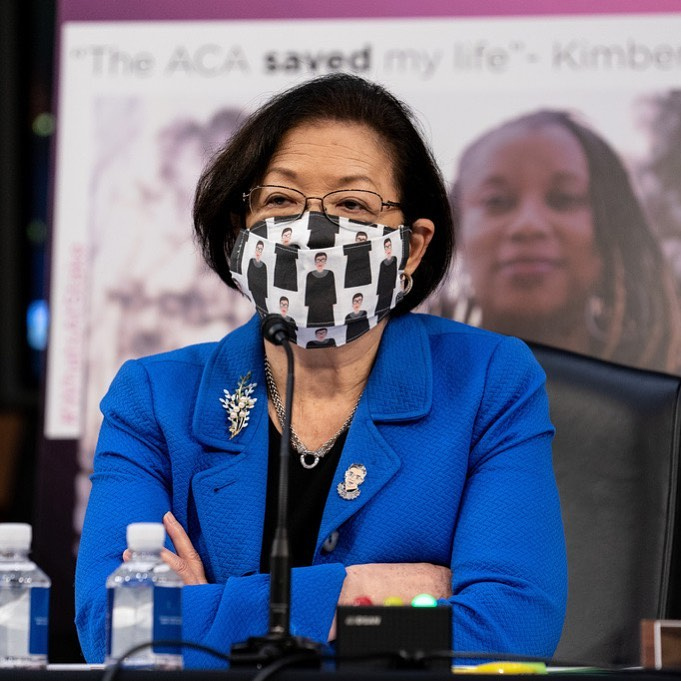 Hawaii Sen. Mazie Hirono wore a mask with illustrations of Ruth Bader Ginsburg o...