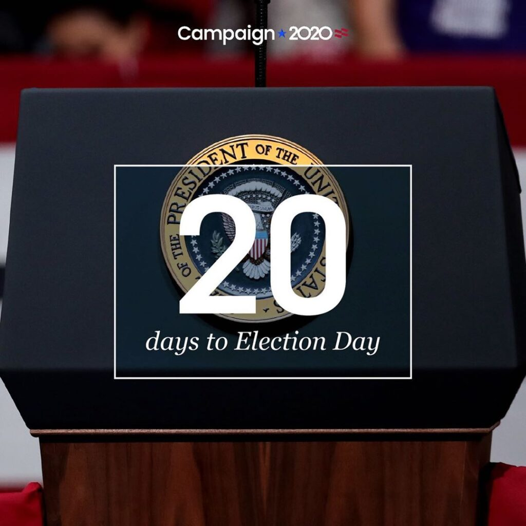 Election day is 20 days away.  Catch up on campaign events, rallies, and debates...
