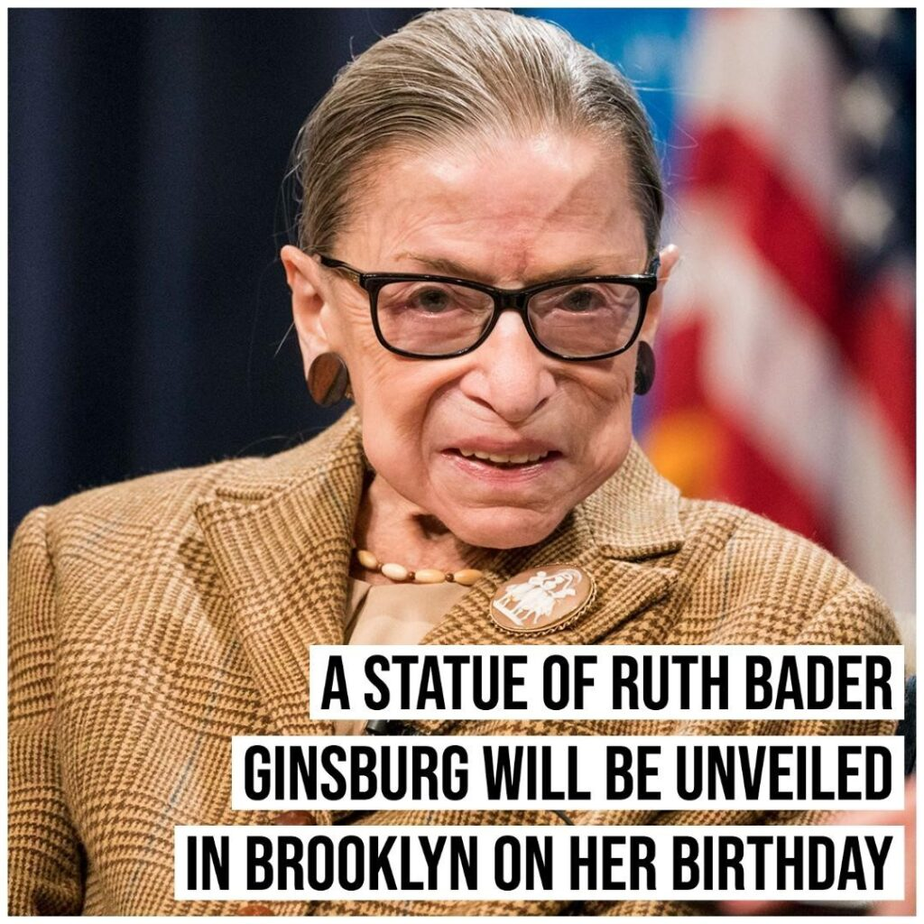 A bronze statue of late Supreme Court Justice Ruth Bader Ginsburg will be unveil...
