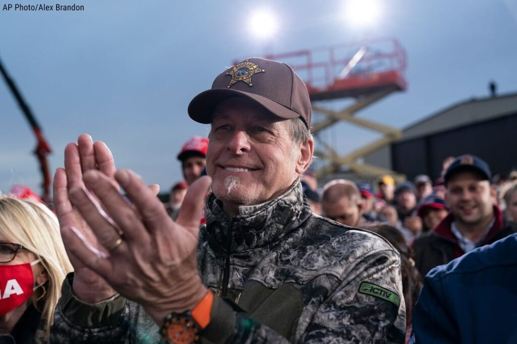 Singer-songwriter Ted Nugent is seen applauding President Donald J. Trump during...