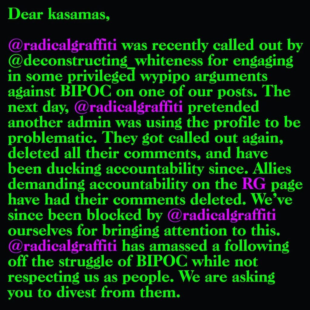 radicalgraffiti has deleted comments and blocked profiles in the abolitionist co...
