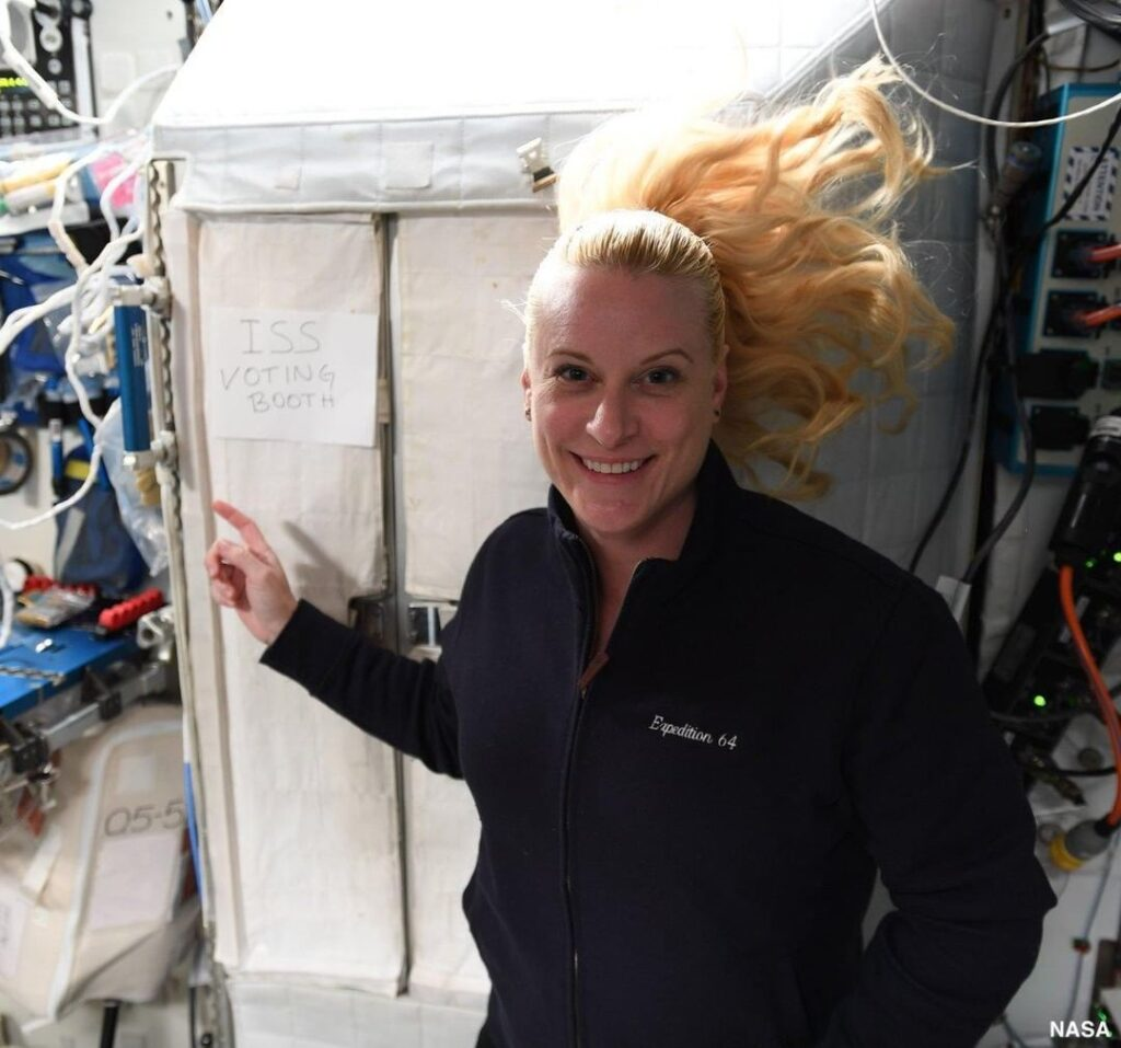 Astronaut Kate Rubins votes from the International Space Station.    ...