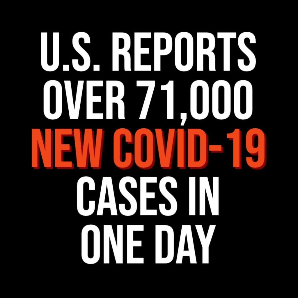 More than 71,600 new coronavirus cases were recorded in the U.S. on Thursday, ma...