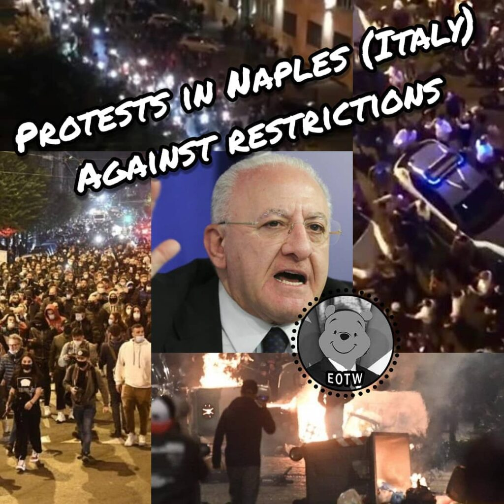 Protests and fights this night in Naples (Italy) against new total lockdown and ...