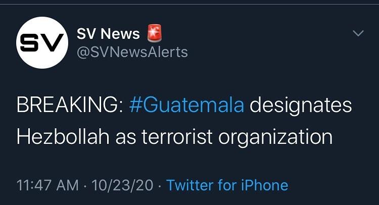 BREAKING:  designates Hezbollah as terrorist organization...