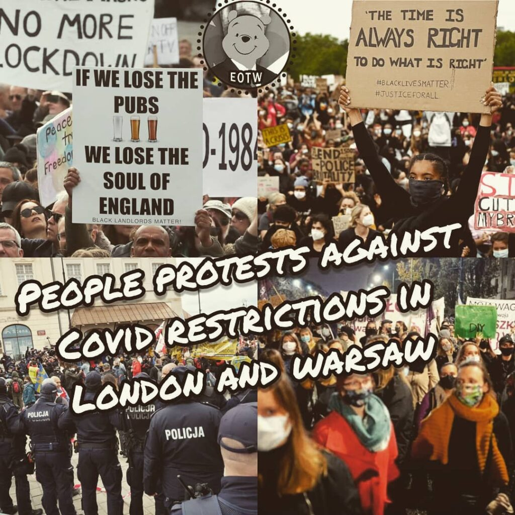 Thousands people are protesting now in London and Warsaw against covid19 restric...
