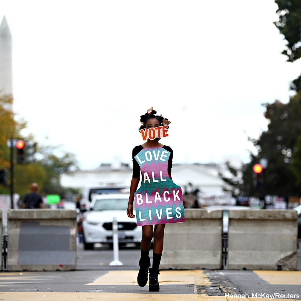Activists participated in a fashion show on the Black Lives Matter Plaza in Wash...