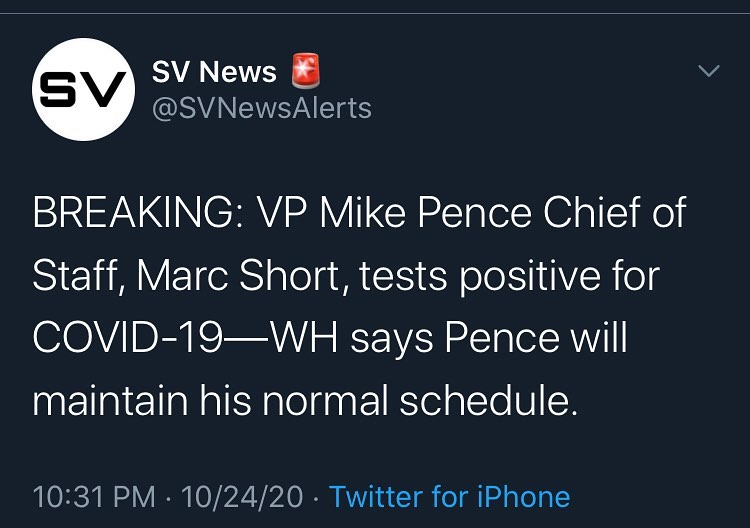 BREAKING: VP Mike Pence Chief of Staff, Marc Short, tests positive for COVID-19—...