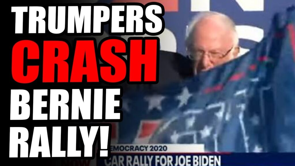 Bernie Sanders TROLLED By Trump Flag While He Campaigns For Biden Infront of 3 People! hahah