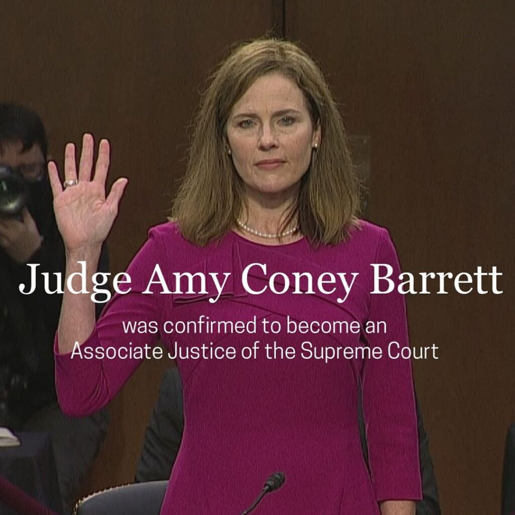 The Senate voted 52-48 to confirm Judge Amy Coney Barrett to be Associate Justic...