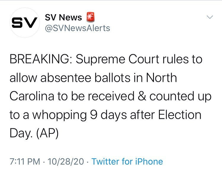 BREAKING: Supreme Court rules to allow absentee ballots in North Carolina to be ...