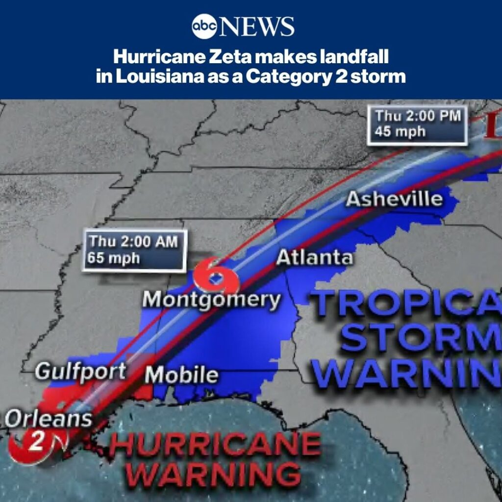 BREAKING: Hurricane Zeta has made landfall as a strong Category 2 storm near Coc...