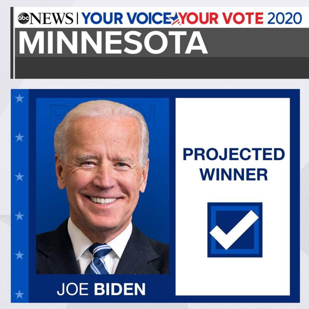 BREAKING: Joe Biden will win the state of Minnesota, ABC News projects. LIVE ELE...