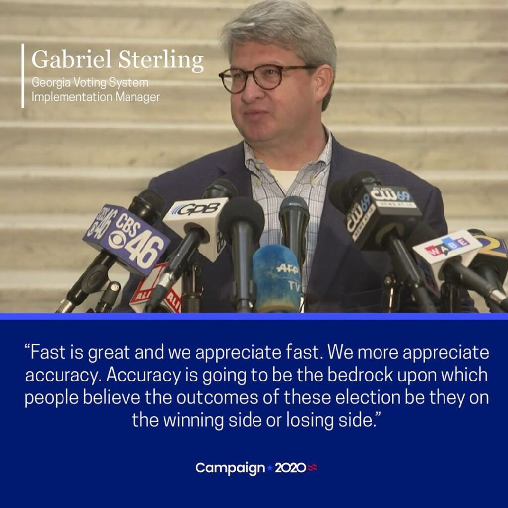 In an update on the state of the vote count in Georgia, Voting System Implementa...