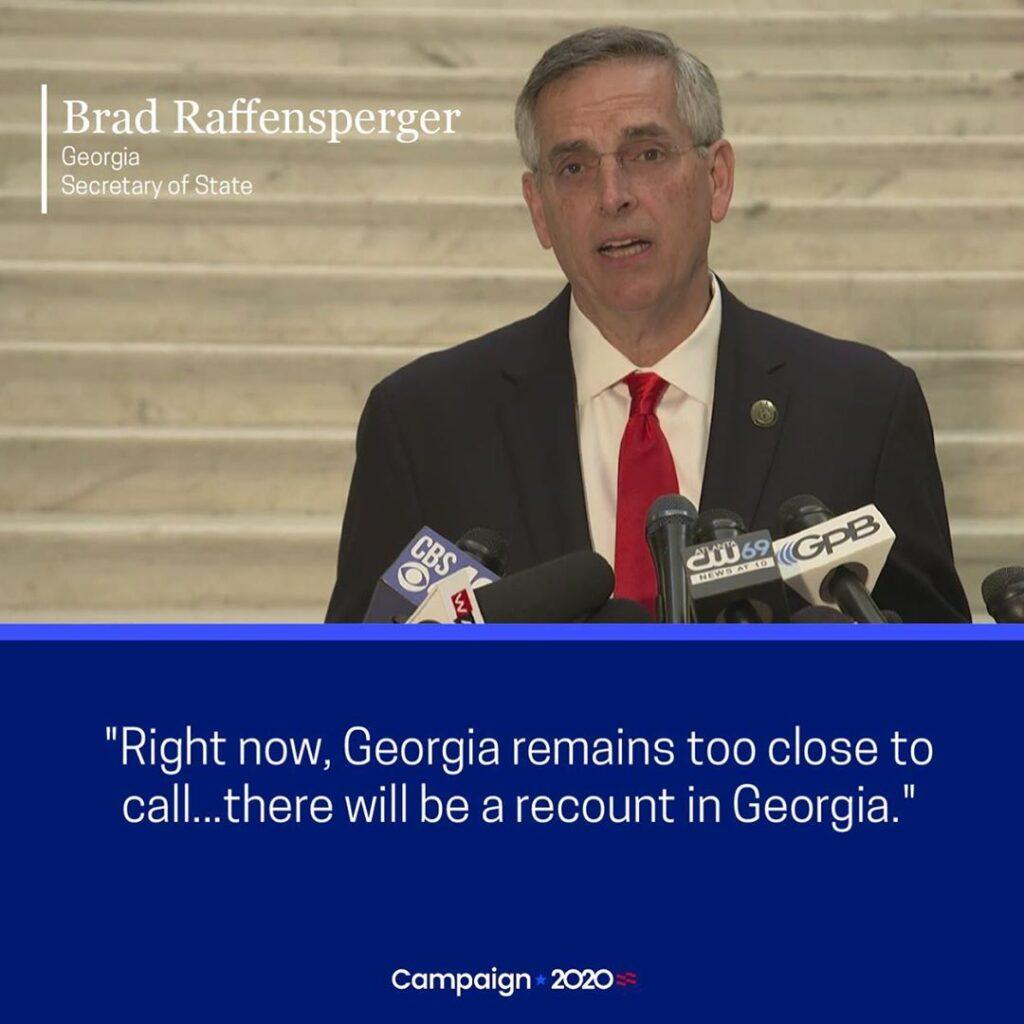 "Election Update  Georgia's Secretary of State Brad Raffensperger said, ""Right no..."