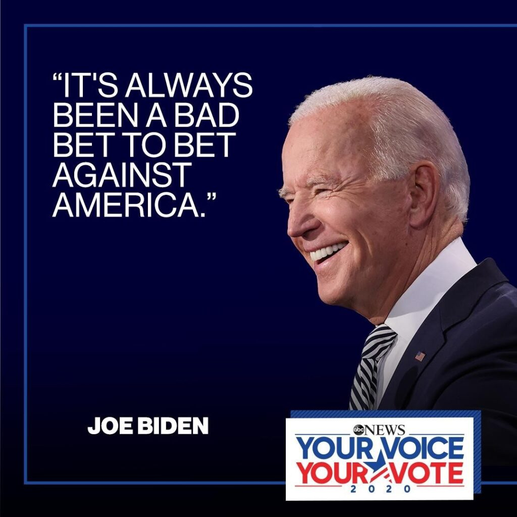 "President-elect Joe Biden: ""It's always been a bad bet to bet against America."" ..."