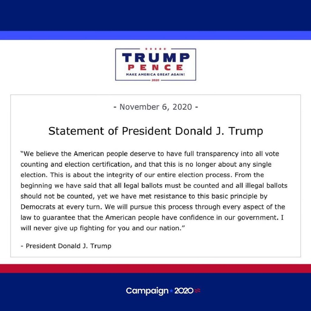 Election Update  Statement from the Trump-Pence campaign on the state of the 202...