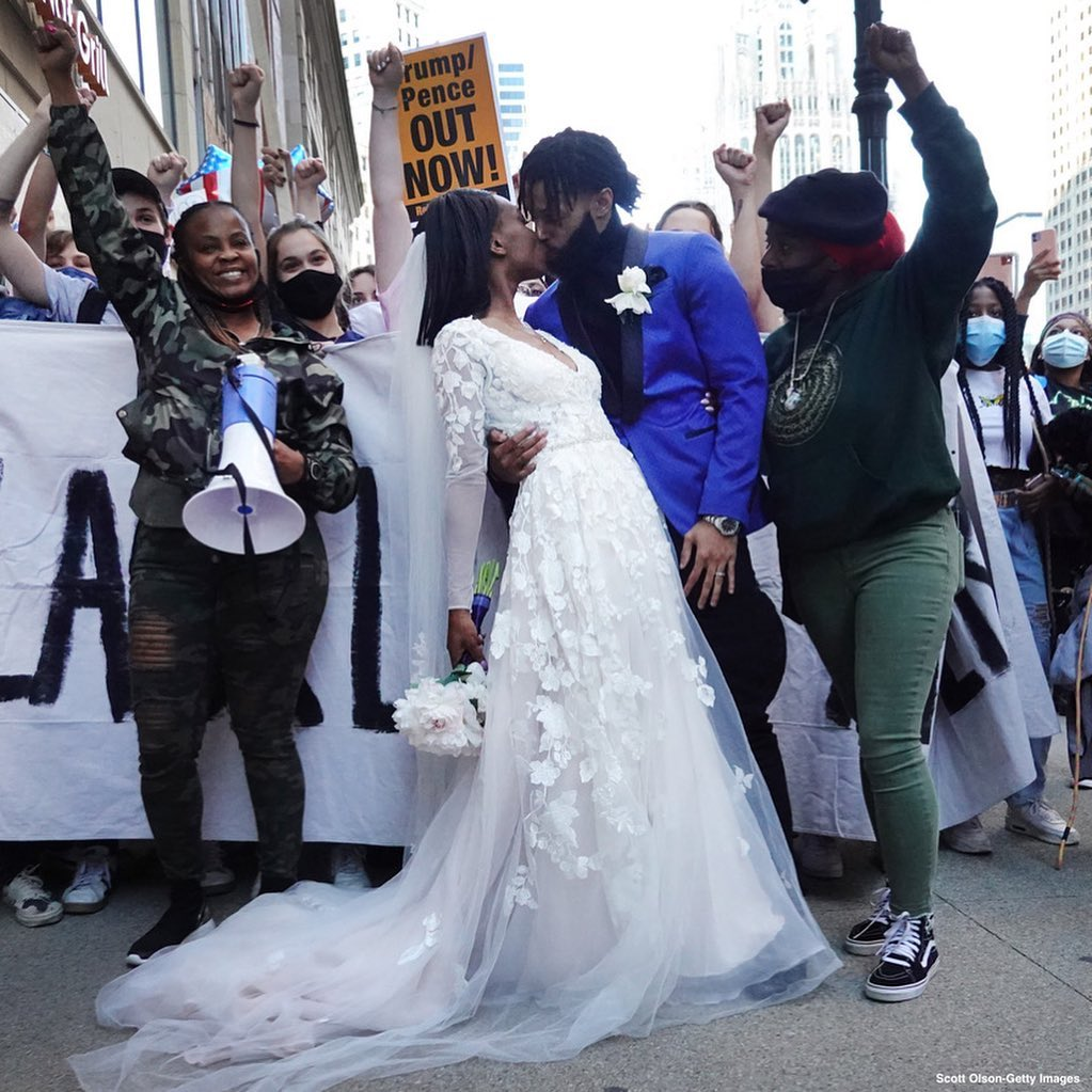 Newlyweds in Chicago and Washington, D.C. celebrate their wedding day with suppo...