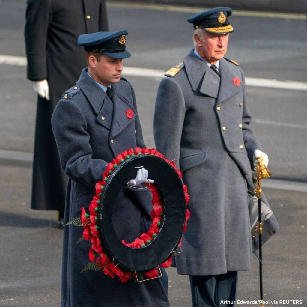 Charles, Prince of Wales, and Prince William, the Duke of Cambridge, attend the ...