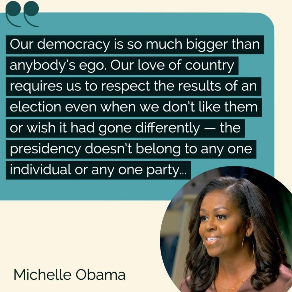 Former first lady Michelle Obama speaks out on President Trump's refusal to conc...