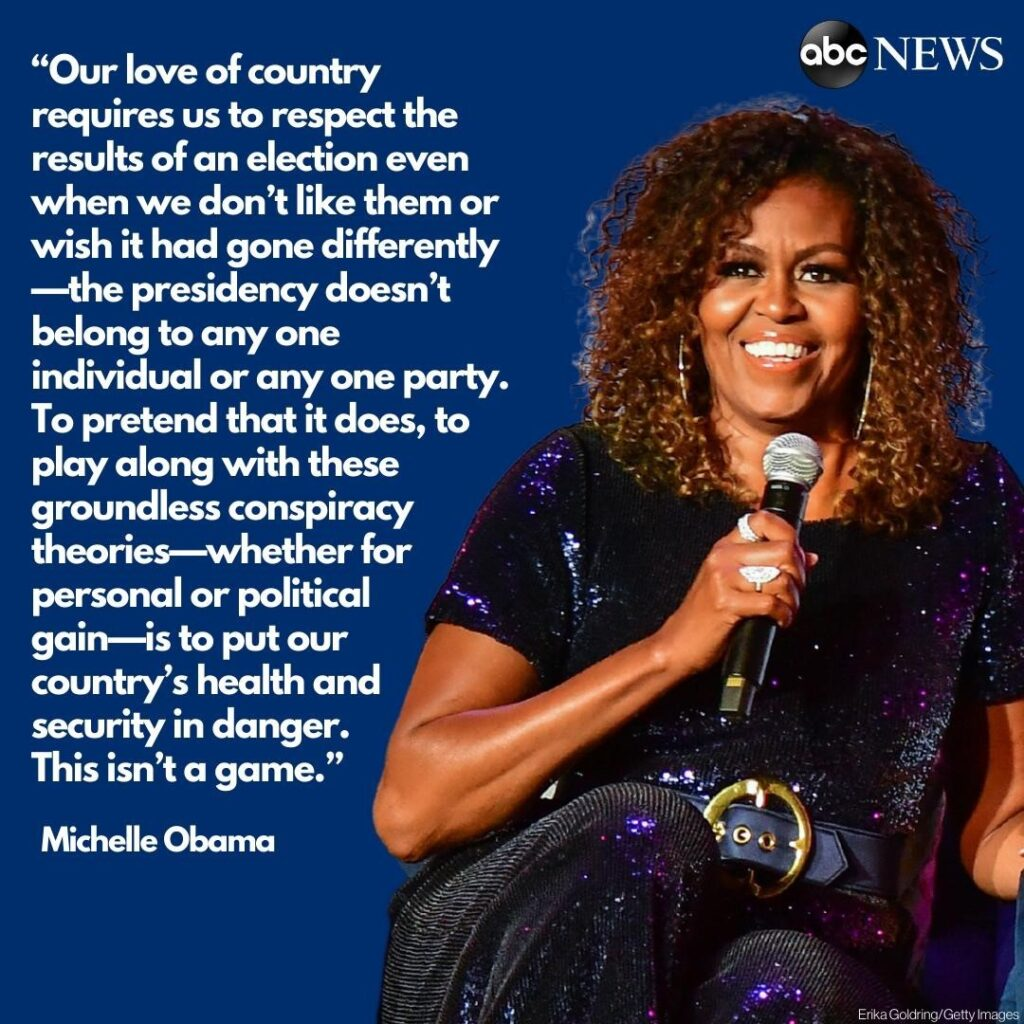 Former first lady Michelle Obama is apparently taking aim President Trump for re...