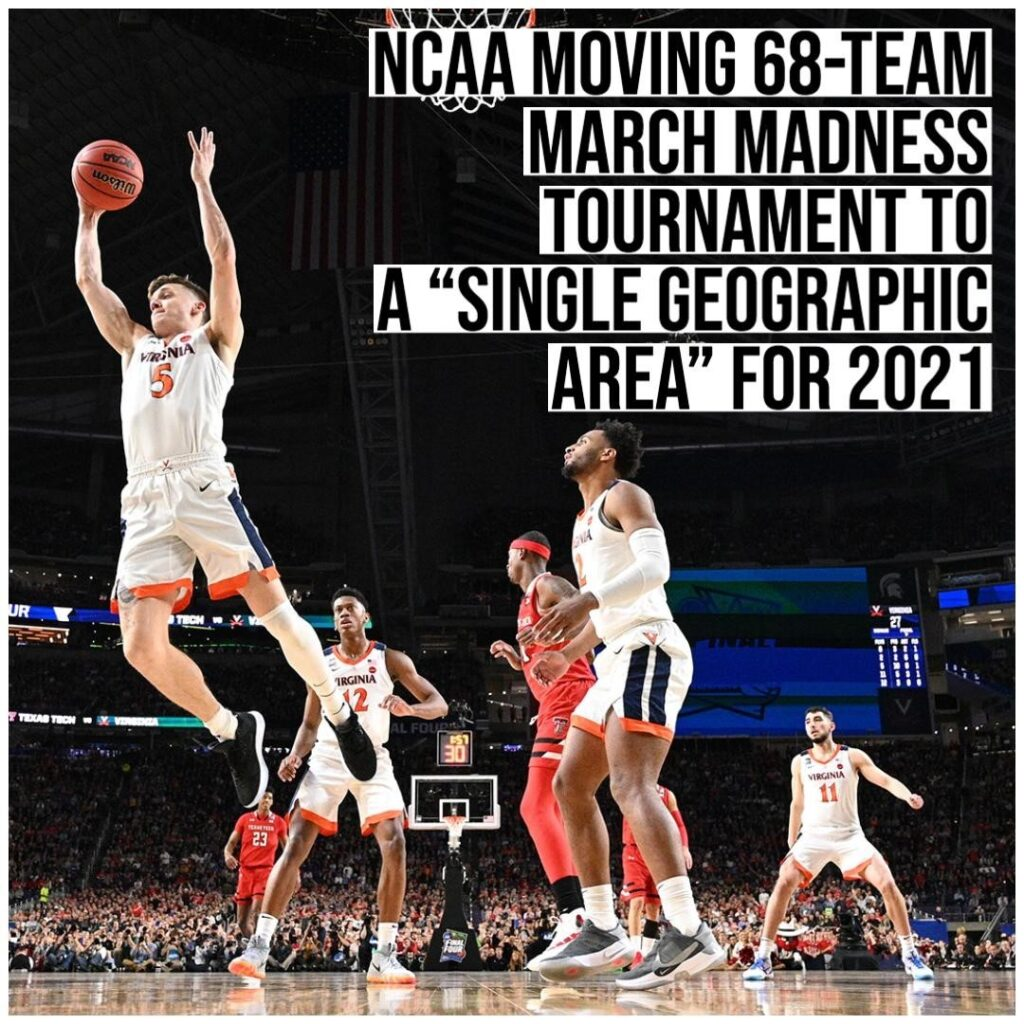 The NCAA announced Monday that it will host the entire 68-team 2021 Division I M...