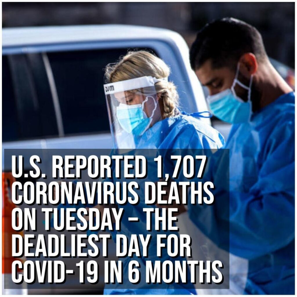 The United States logged 1,707 coronavirus deaths Tuesday — the equivalent of at...