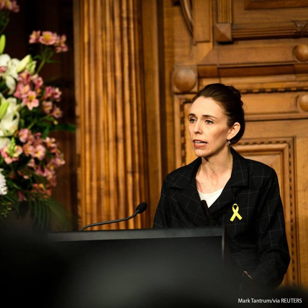 New Zealand Prime Minister Jacinda Ardern speaks during a memorial ceremony for ...