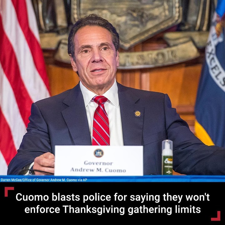 New York Gov. Andrew Cuomo blasted law enforcement for not wearing masks and for...