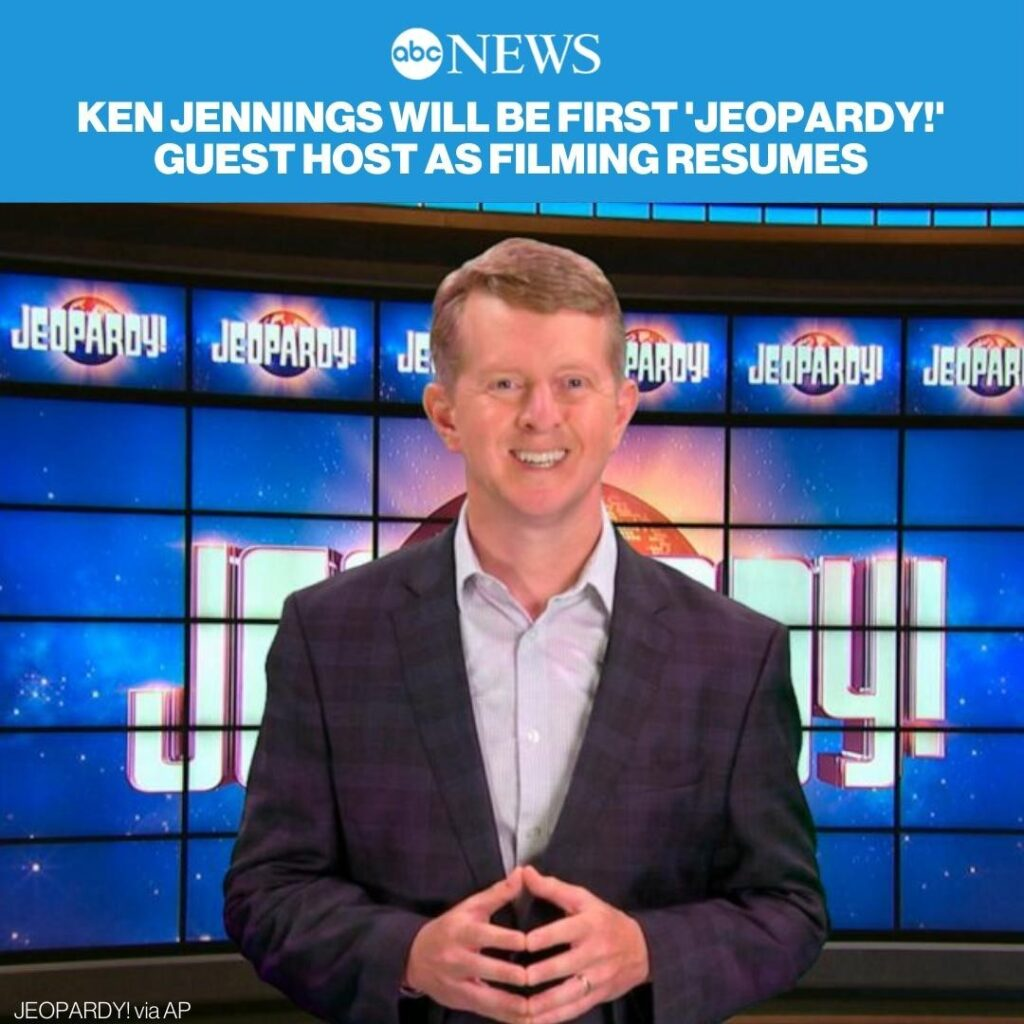 """""""Jeopardy!"""" will resume production again next week, with Ken Jennings stepping i..."""
