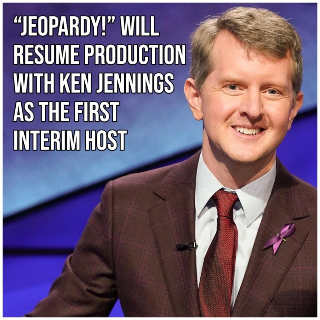 """""""Jeopardy"""" will resume production on November 30 just weeks after the show's bel..."""