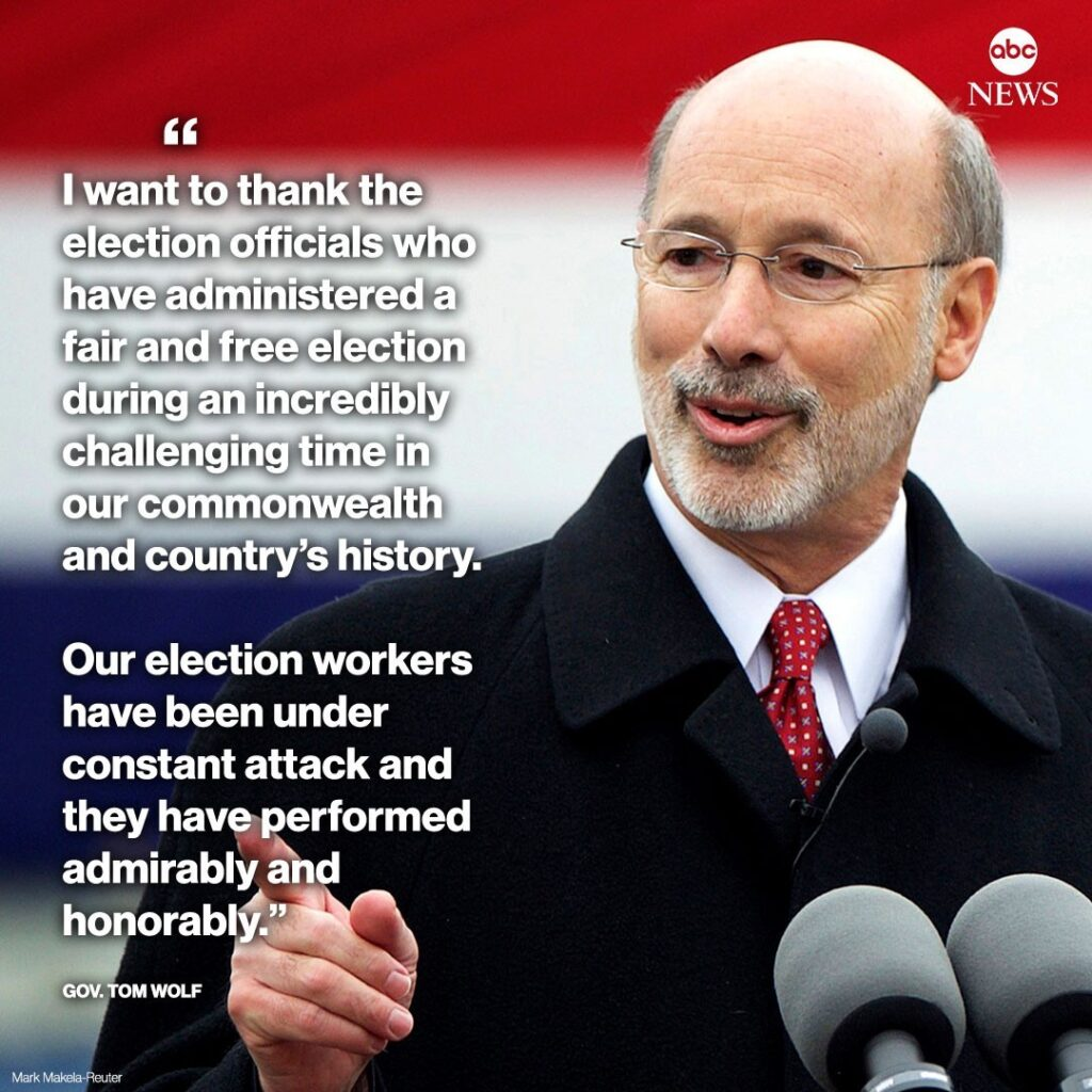 "Pennsylvania Gov. Tom Wolf on certification of election results: ""I want to than..."