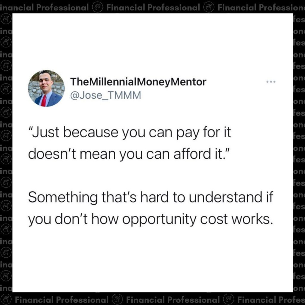 Comprehending opportunity cost might be one of the most over looked skill sets. ...