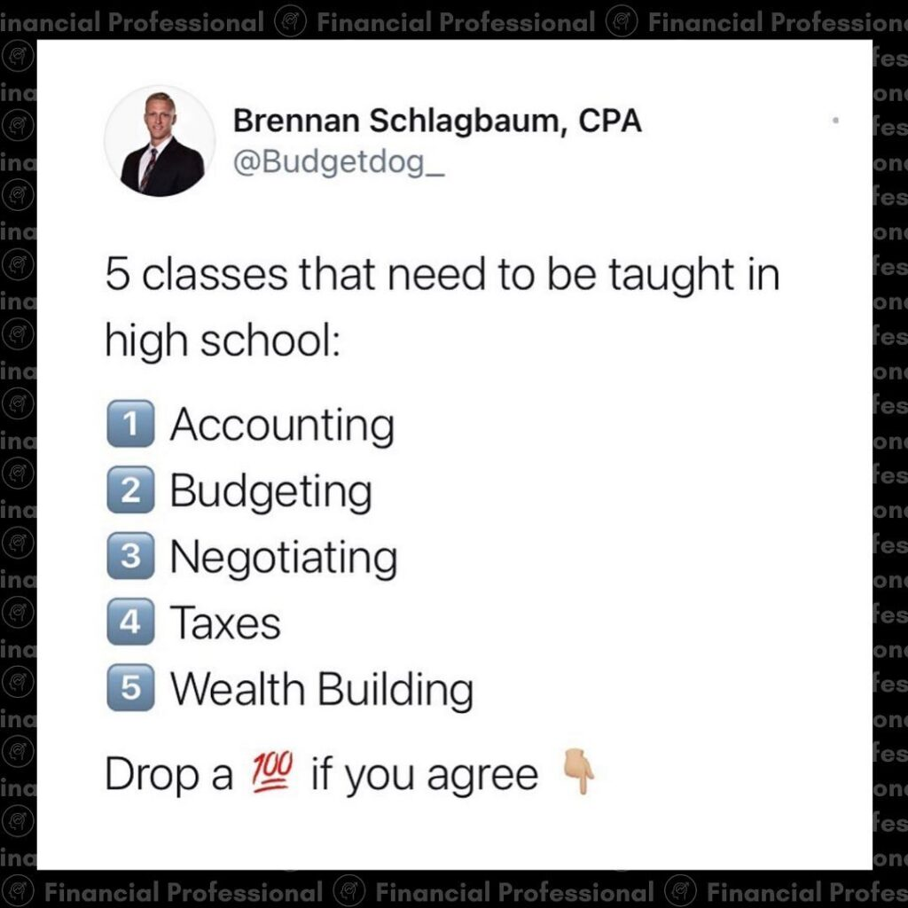 Which of these do you wish were taught in high school?  Follow  for more financi...