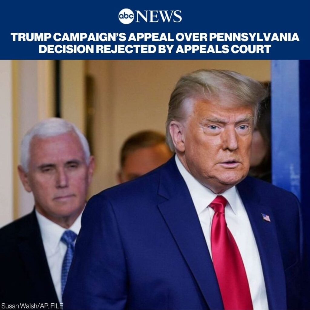 Trump campaign's appeal over Pennsylvania decision rejected by appeals court. RE...